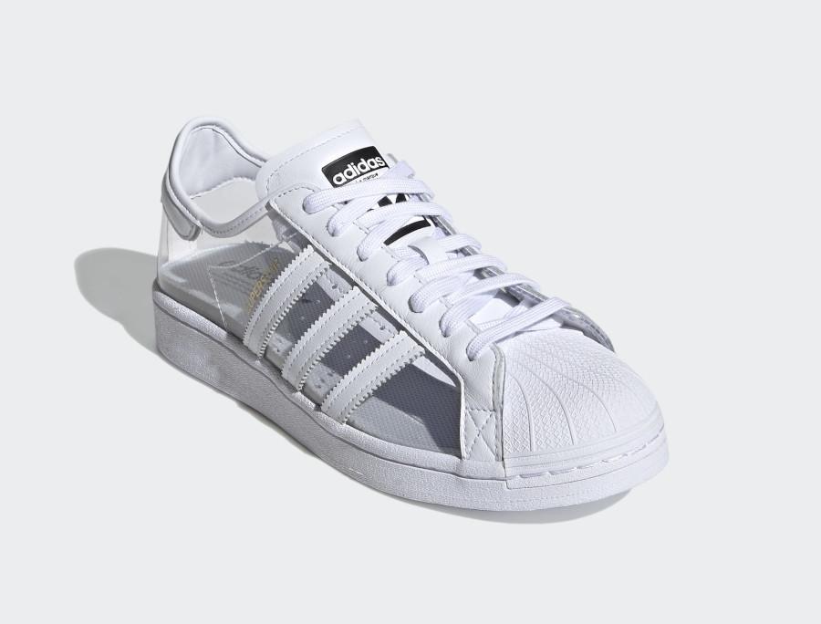 Adidas Superstar blanche en plastique transparent (2)