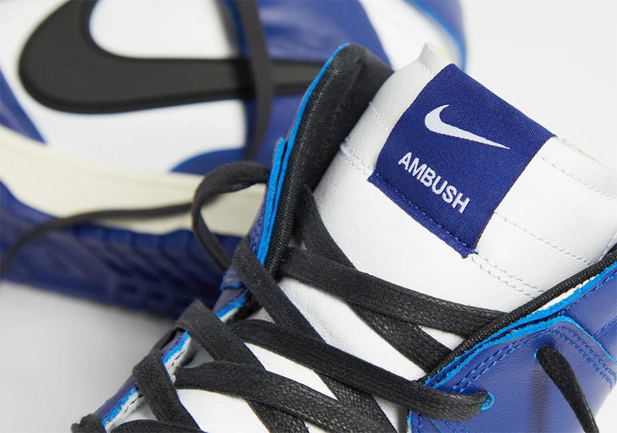 Ambush x Nike Dunk High blanche bleue et noire (1)