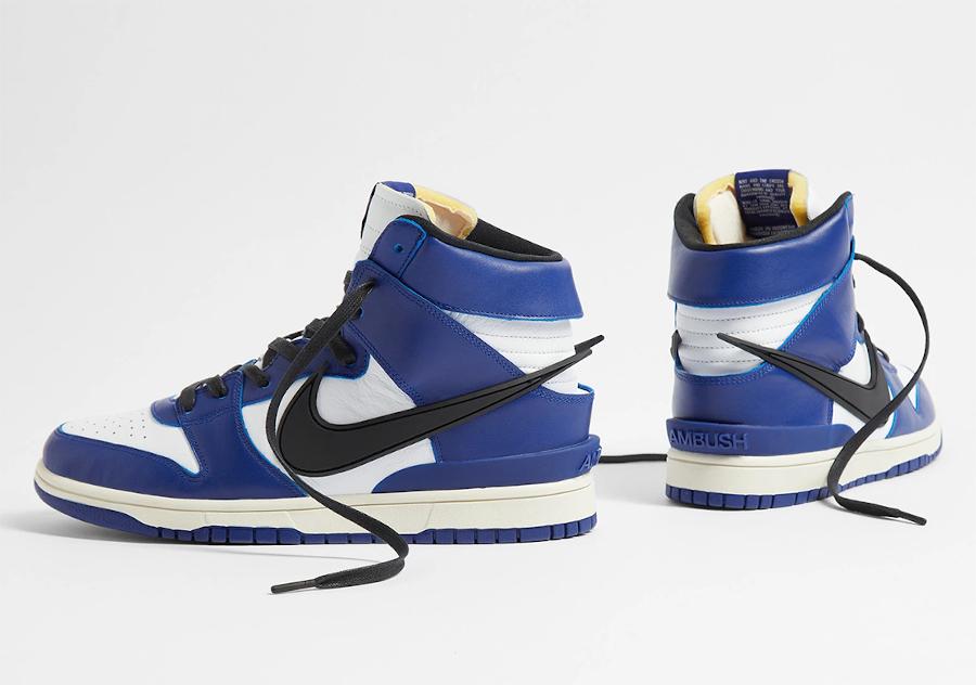Ambush x Nike Dunk High blanche bleue et noire (2)