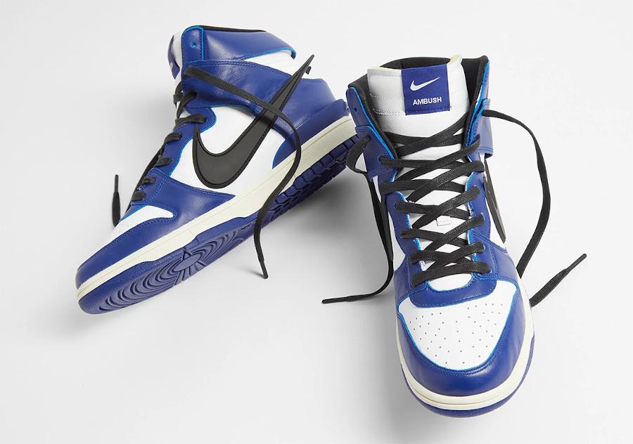 Ambush x Nike Dunk High blanche bleue et noire (4)