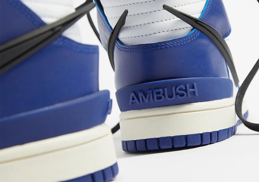 Ambush x Nike Dunk High blanche bleue et noire (6)