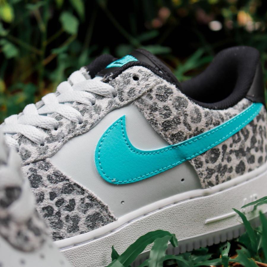 Nike Air Force 1 Premium bleu jade (imprimé félin) (4)