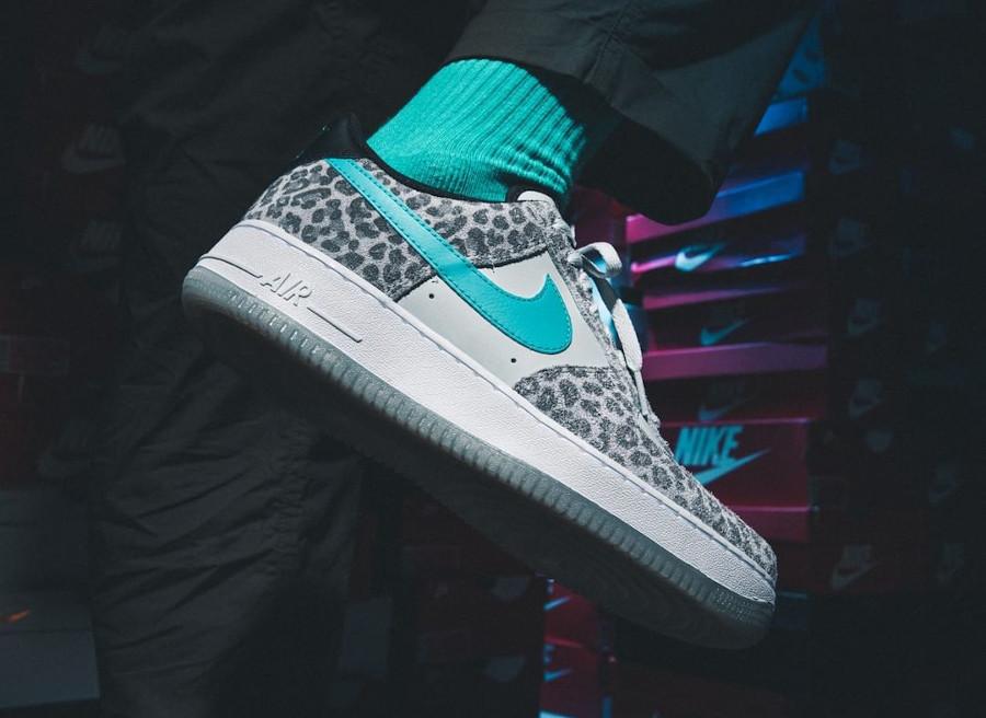 Nike Air Force 1 Snow Leopard on feet