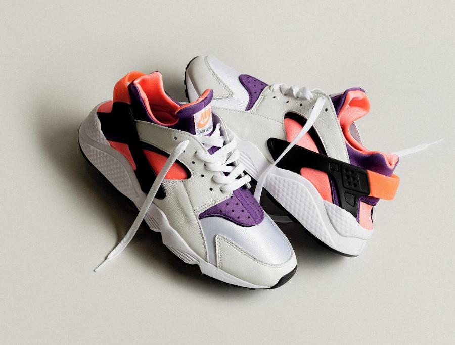 Nike Air Huarache Run blanche rose et violet (30ème anniversaire) (3)