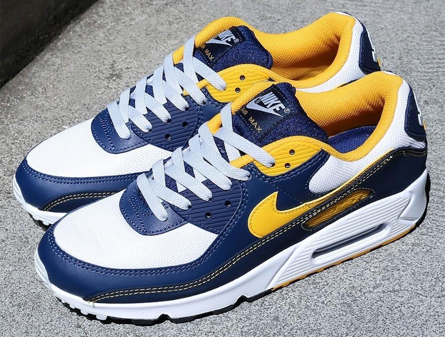 Nike Air Max 90 blanche bleu foncé et jaune doré (1)