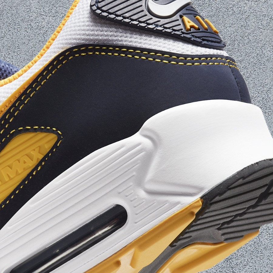 Nike Air Max 90 blanche bleu foncé et jaune doré (2)