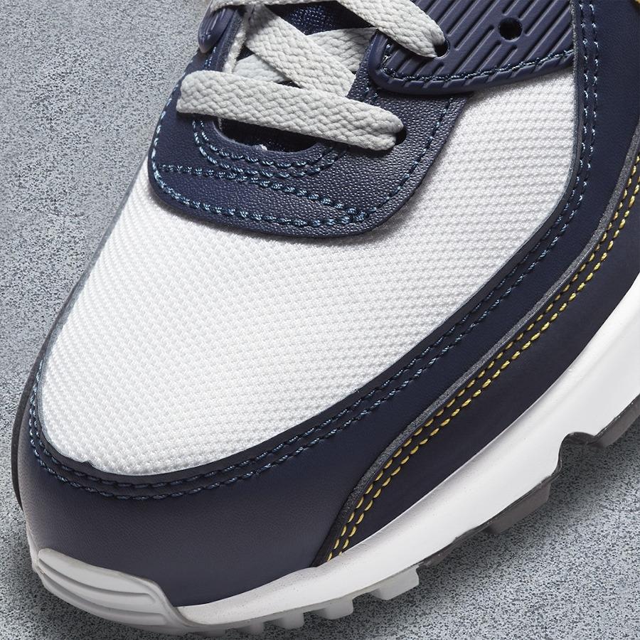 Nike Air Max 90 blanche bleu foncé et jaune doré (3)