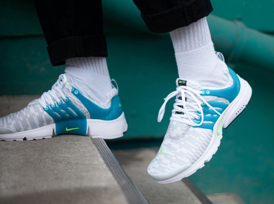 Nike Air Presto blanche bleu turquoise (6)