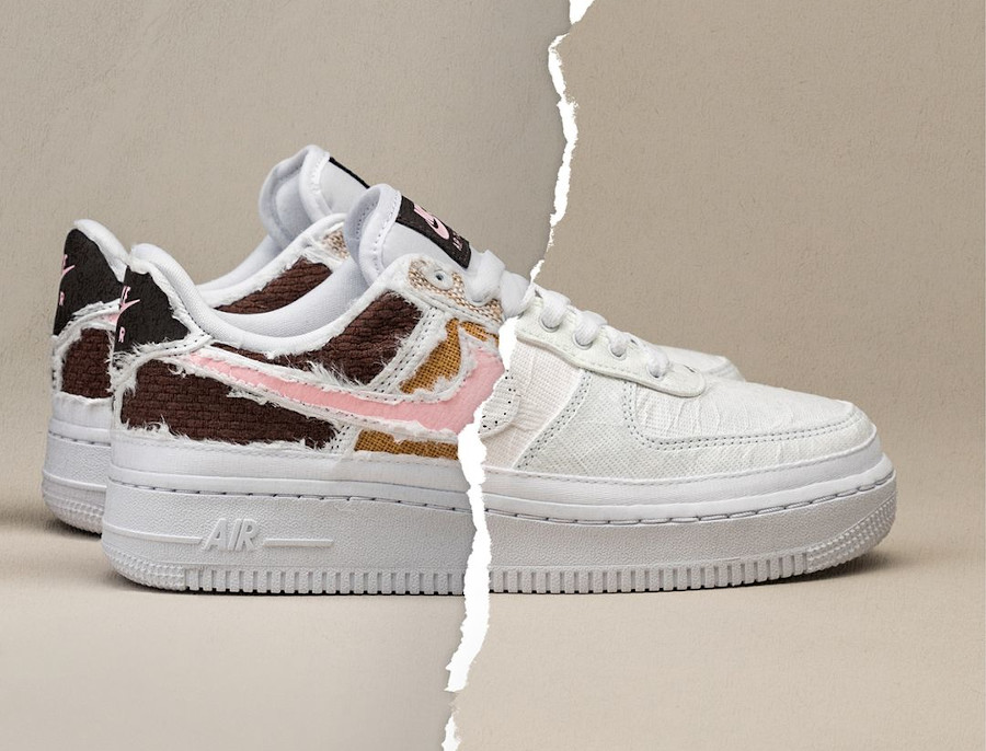 Nike W Air Force 1 Low Tear Here marron et rose (4)