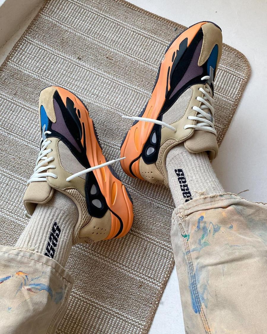 Adidas Yezzi 700 Enflame Amber on feet (1)