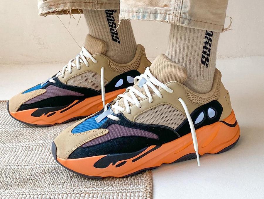Adidas Yezzi 700 Enflame Amber on feet (2)