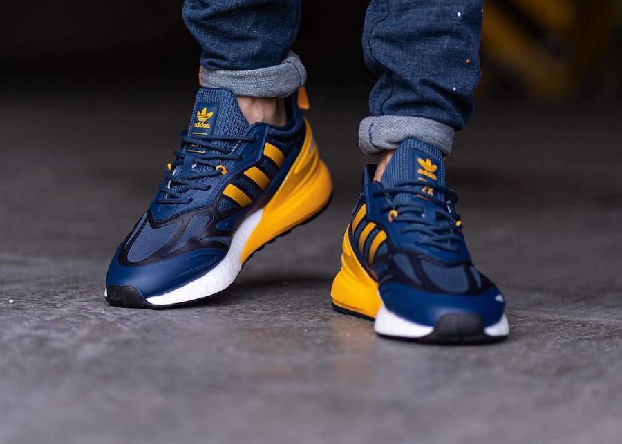 Adidas ZX 2K Boost 2.0 bleu foncé et jaune (2)