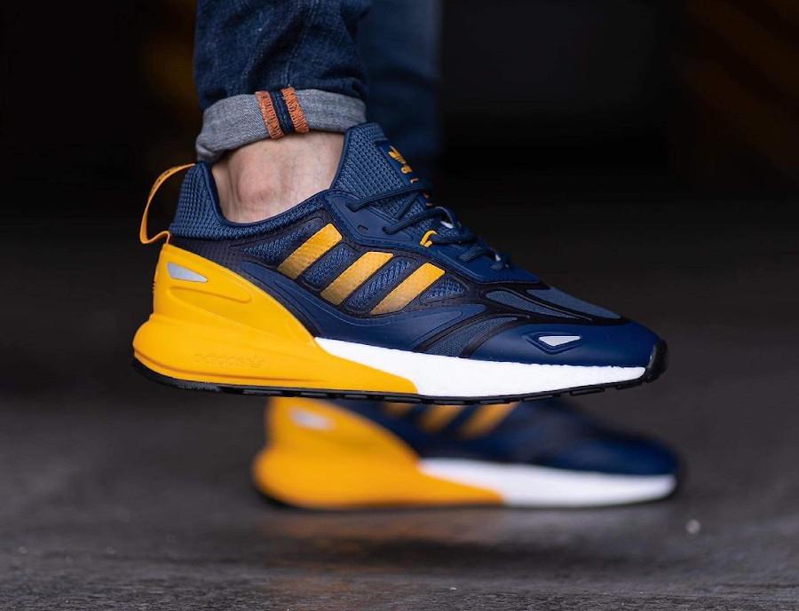 Adidas ZX 2K Boost 2.0 bleu foncé et jaune (3)