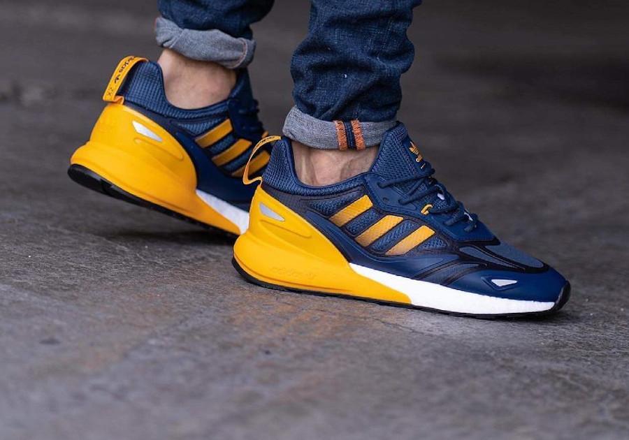 Adidas ZX 2K Boost 2.0 bleu foncé et jaune (5)