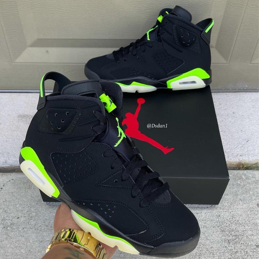 Air Jordan 6 noire et vert electrique (3)