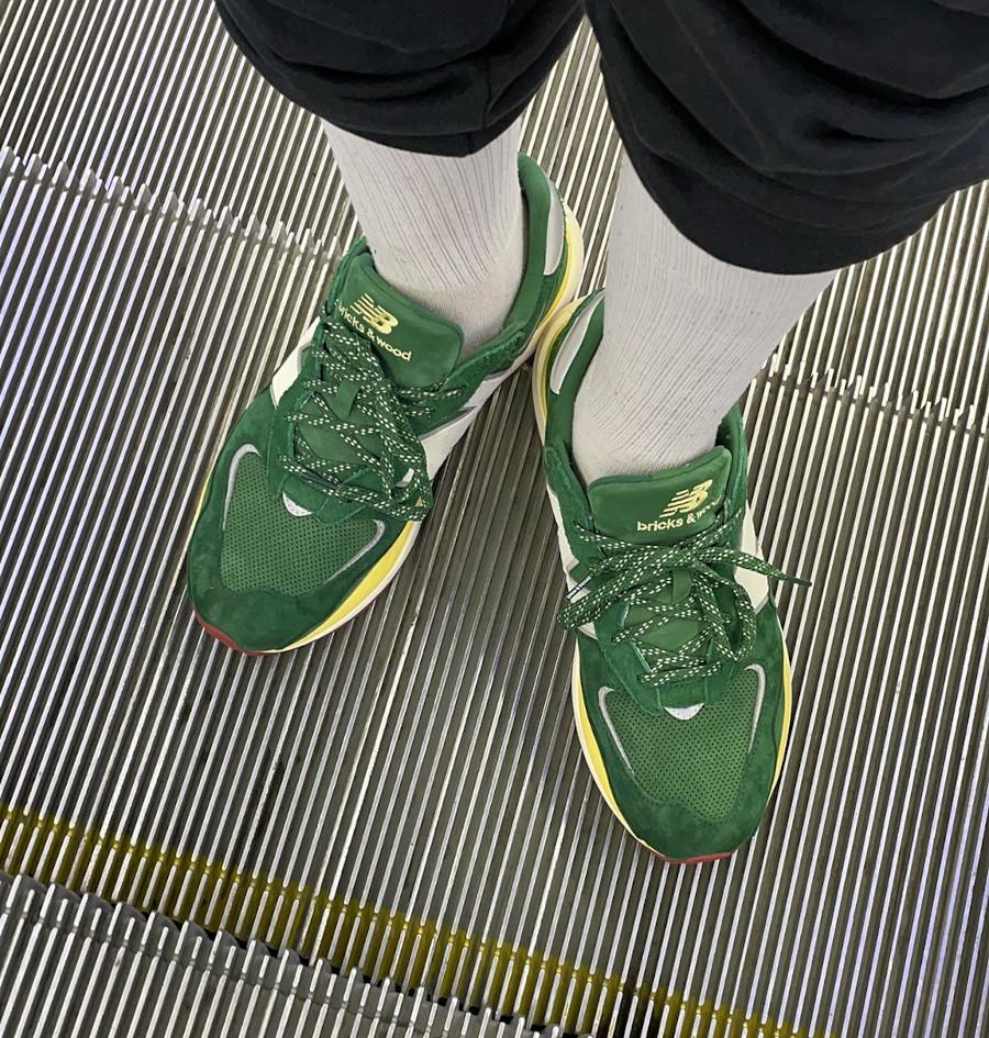 Kacey Lynch x New Balance 57 40 verte et jaune pastel on feet (4)