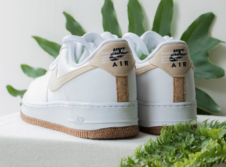 Nike Air Force One 2021 Flora blanche et beige (3)
