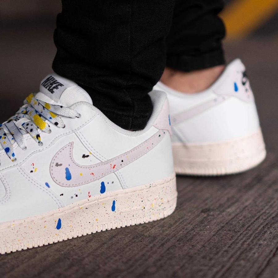 Nike Air Force One blanche (taches de peinture) (6)