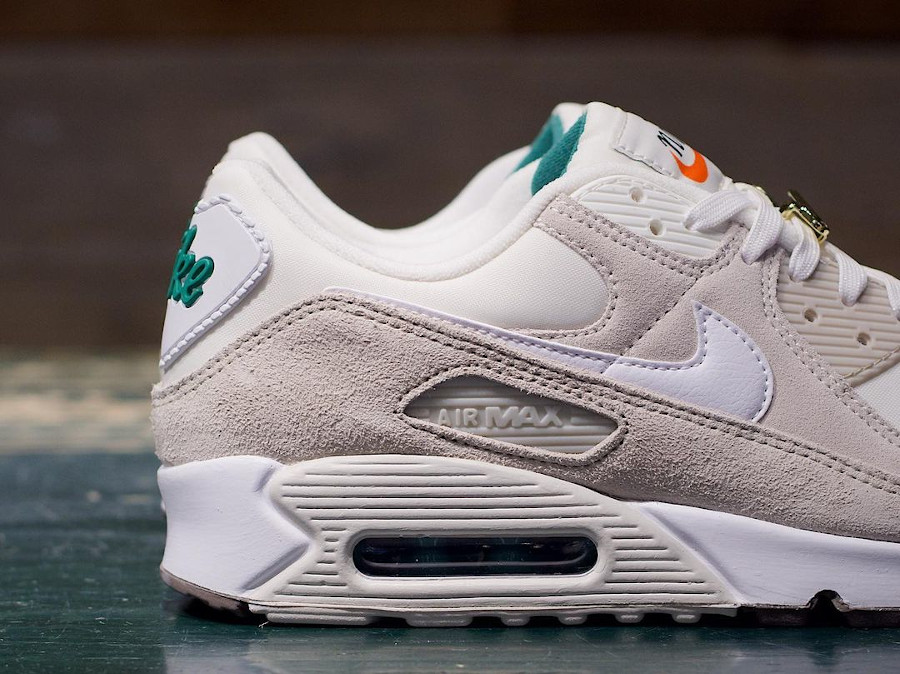 Nike Air Max 90 beige blanche et turquoise (4)
