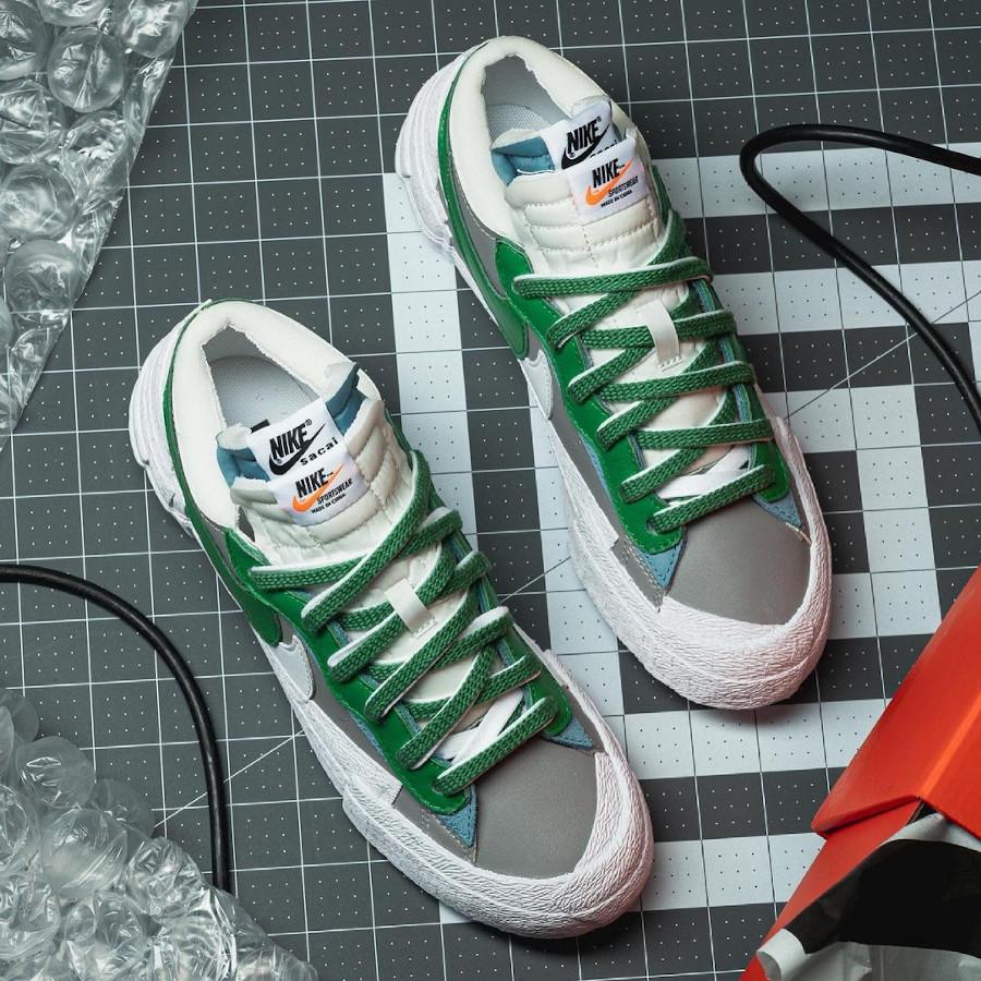 Nike Blazer Low blanche grise et verte DD1877-001 (1)