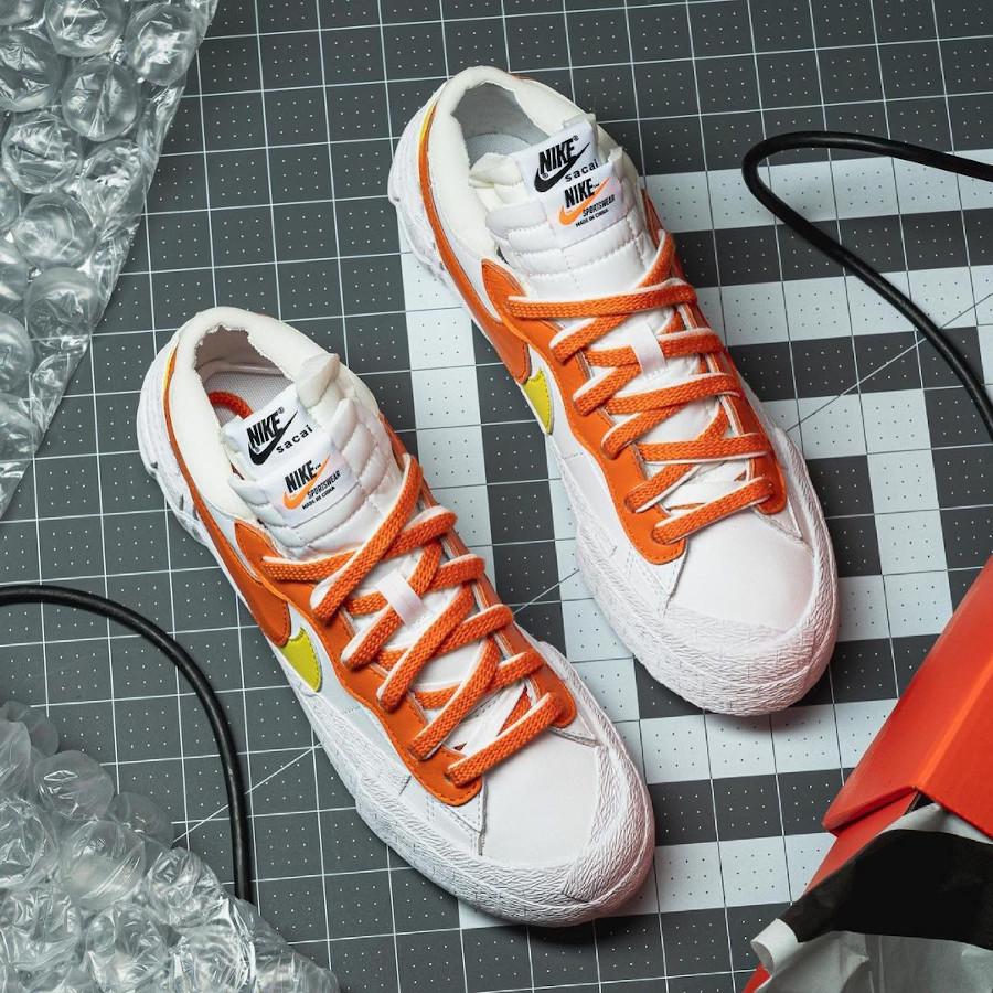 Nike Blazer Low blanche jaune et orange DD1877-100 (1)