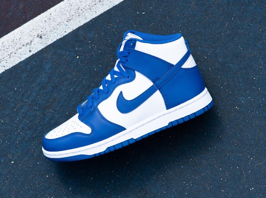 Nike Dunk Hi blanche et bleue '21 (5)