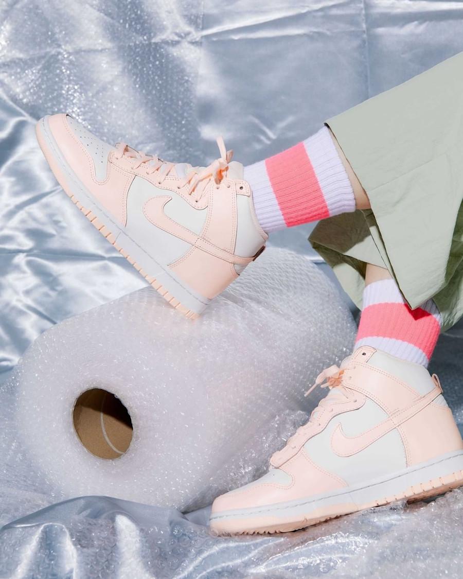 Nike Dunk Hi blanche et rose pastel