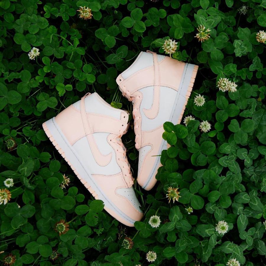 Nike Dunk Hi pour fille blanche et rose pastel (juin 2021 (2)
