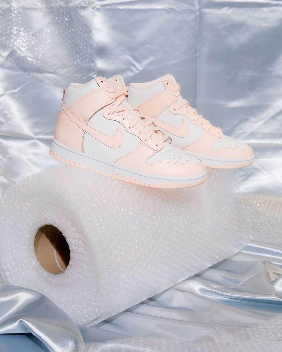 Nike Dunk Hi pour fille blanche et rose pastel (juin 2021 (3)