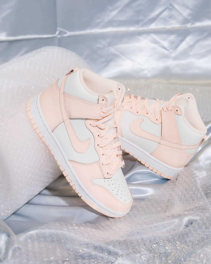 Nike Dunk Hi pour fille blanche et rose pastel (juin 2021 (4)