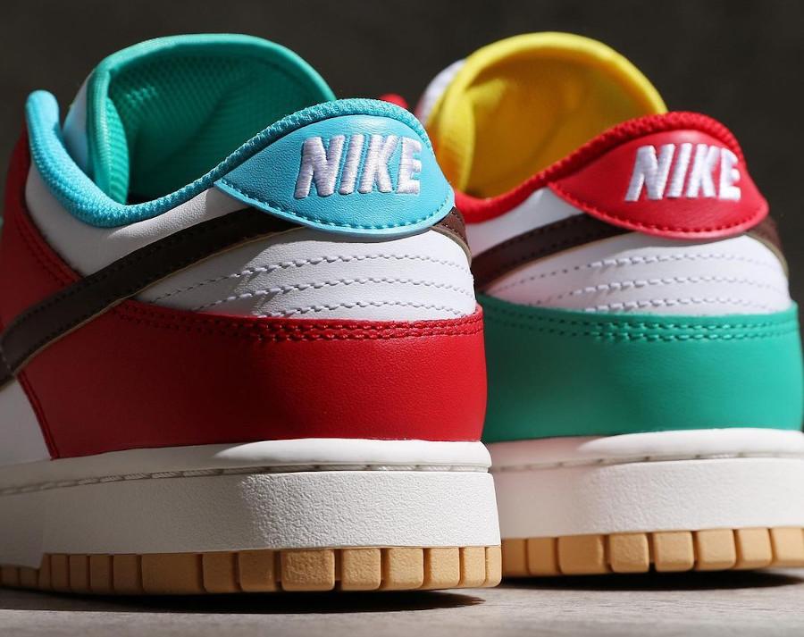 Nike Dunk Low Free 99 blanche bleue verte et jaune (2)