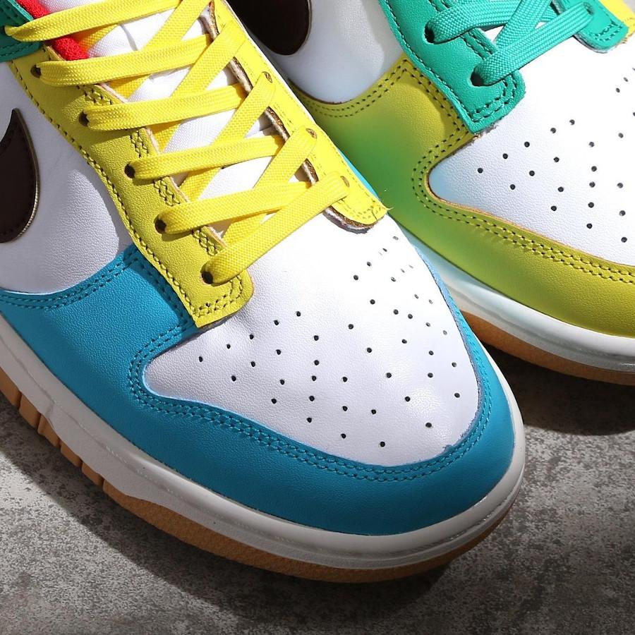 Nike Dunk Low Free 99 blanche bleue verte et jaune (3)