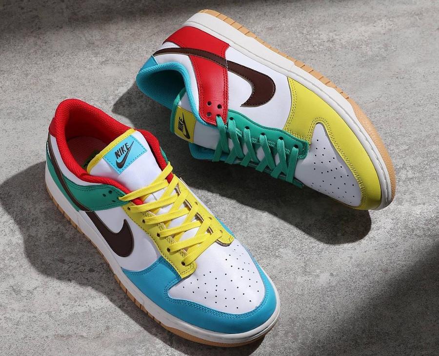Nike Dunk Low Free 99 blanche bleue verte et jaune (4)