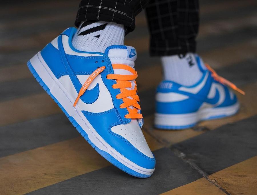 Nike Dunk Low blanche et bleu ciel on feet pour homme (1)
