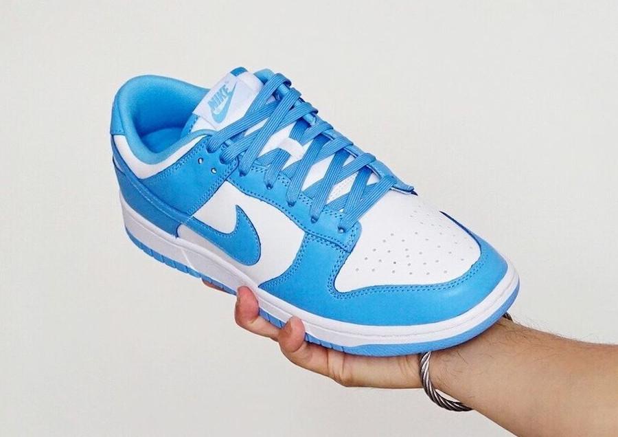 Nike Dunk Low blanche et bleu ciel pour homme (4)