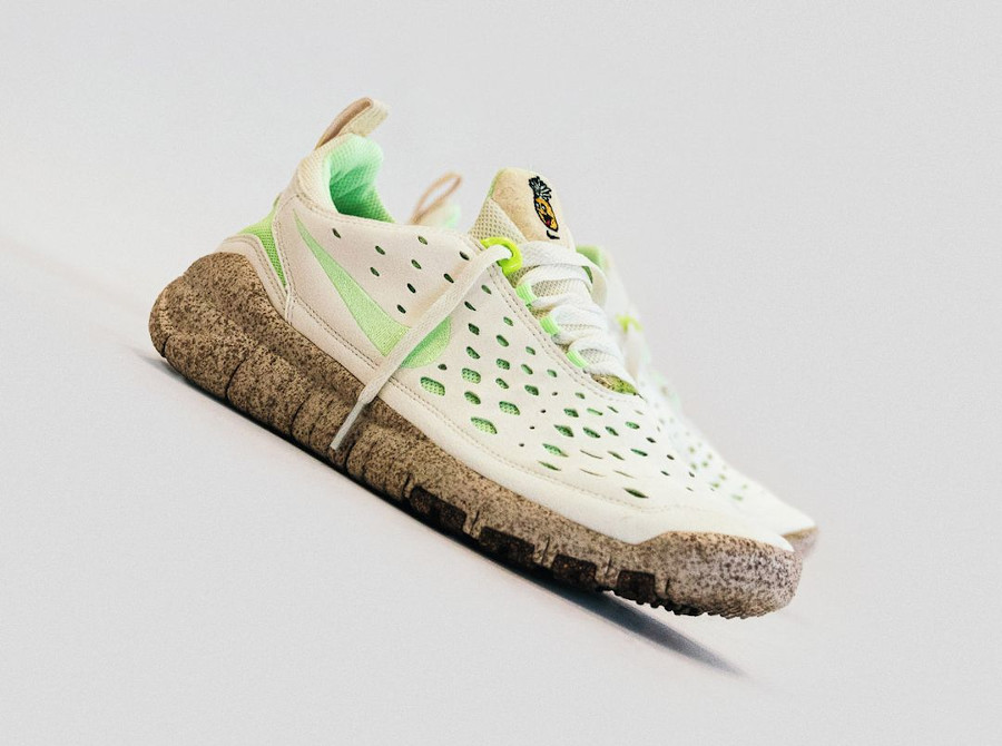 Nike Free Run Trail Premium Piñatex beige et vert fluo (1)