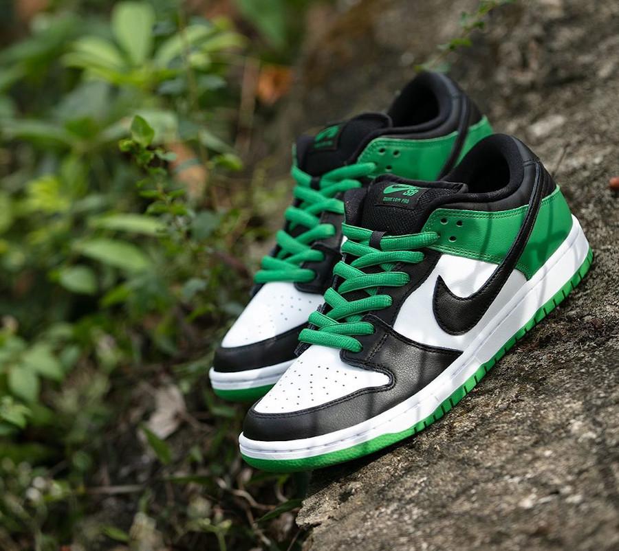 Nike SB Dunk Low blanche verte et noire (1)