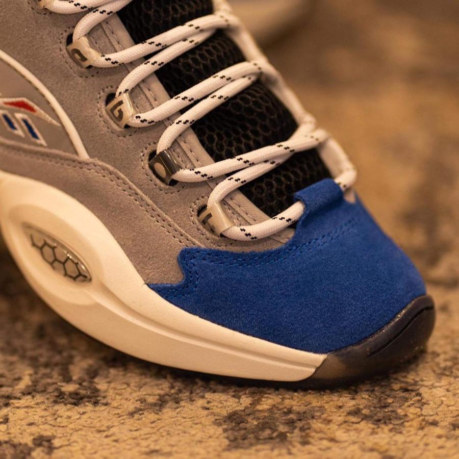 Reebok Question Mid Mgh Solid Grey Vector Blue Black on feet (2)