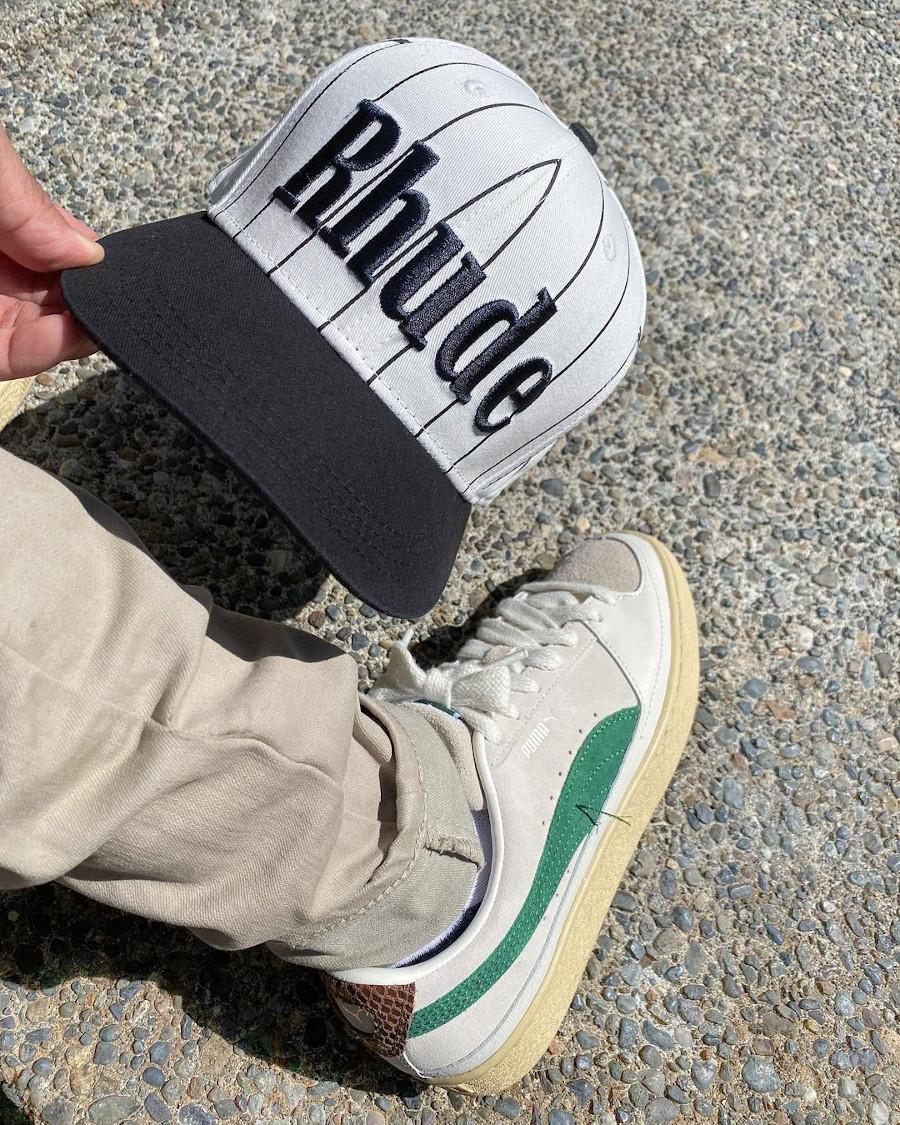 Rhuigi x Puma Suede Whisper White Juniper on feet