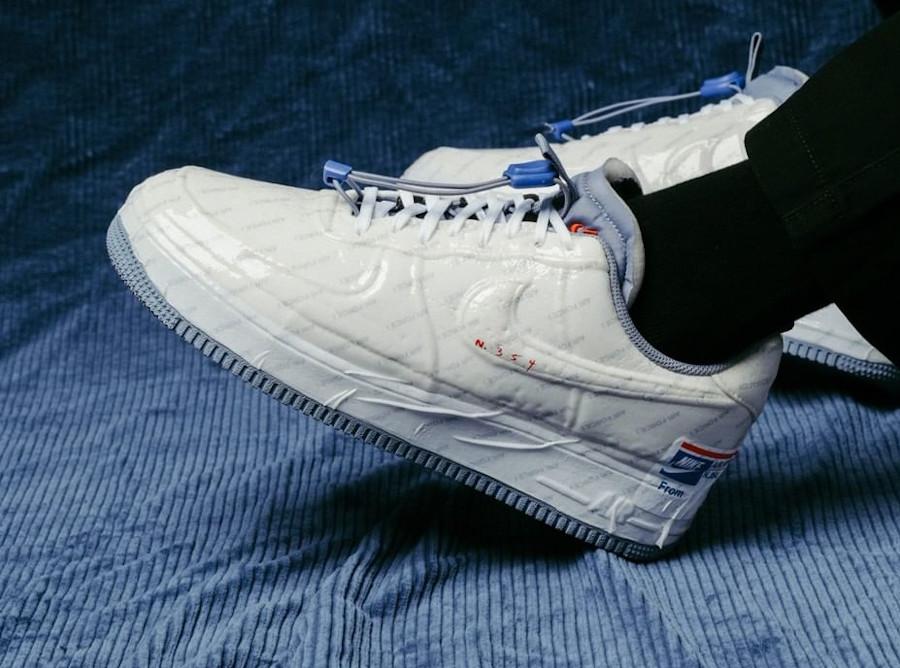 USPS x Nike Air Force 1 Experimental Postal Ghost on feet