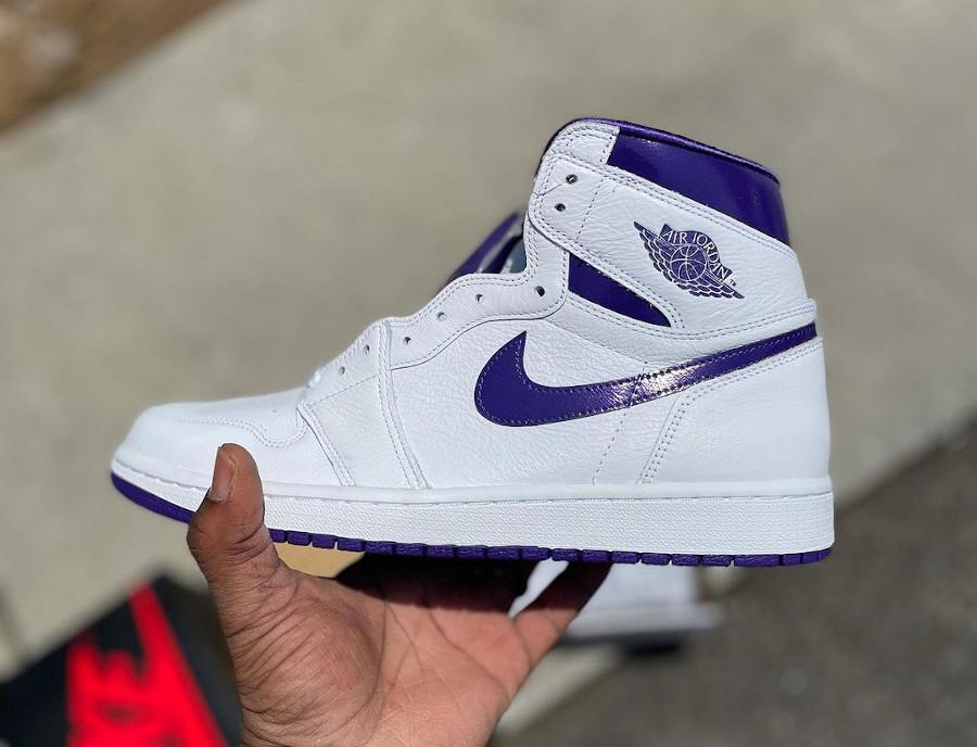 Women's Air Jordan 1 blanche et violette (2)