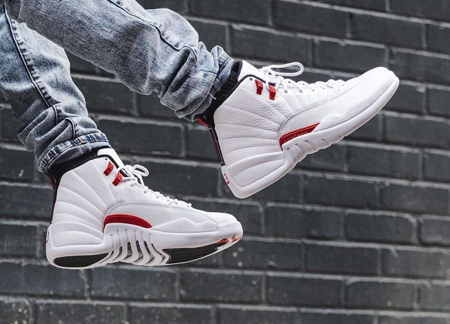 Air Jordan 12 'Twist' Metallic Red on feet