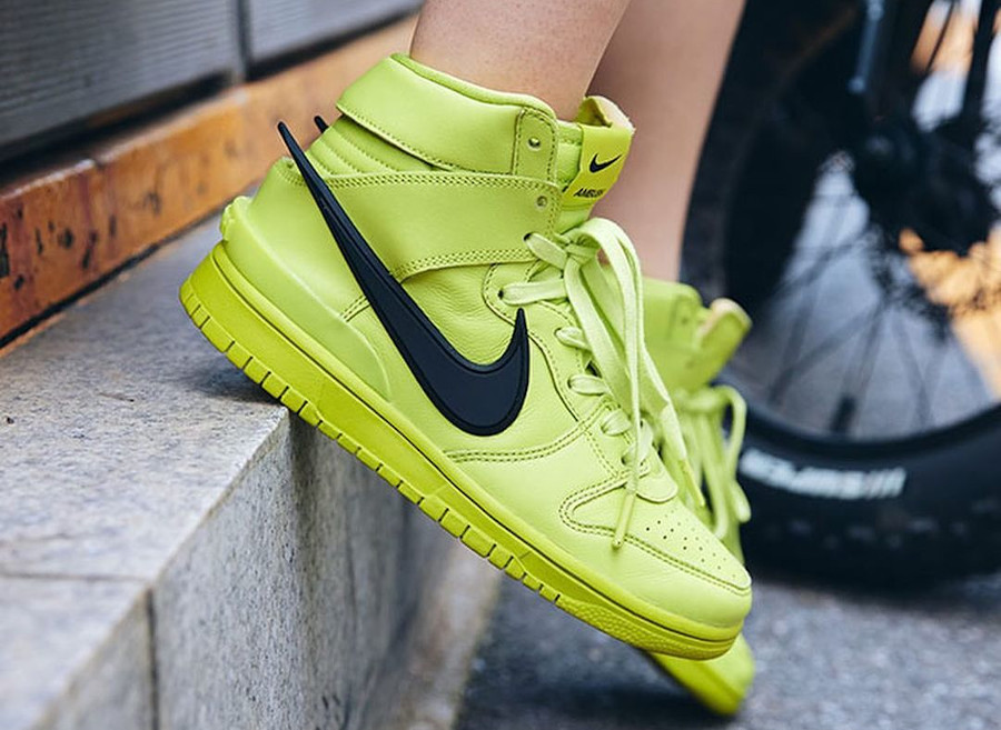 Ambush x Nike Dunk High Flash Lime on feet