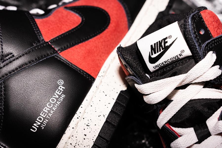 Jun Takahashi x Nike Dunk Hi 85 rouge ett noire (6)