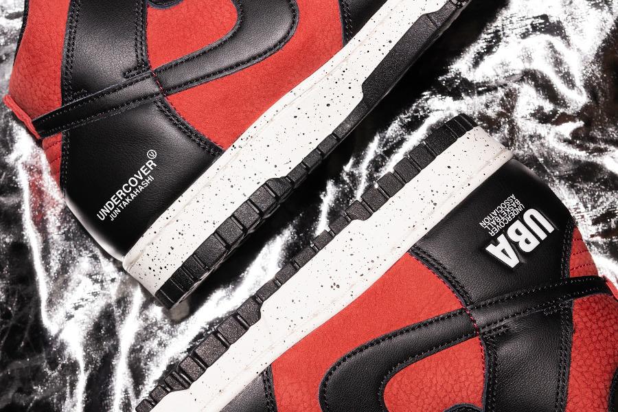 Jun Takahashi x Nike Dunk Hi 85 rouge ett noire (7)
