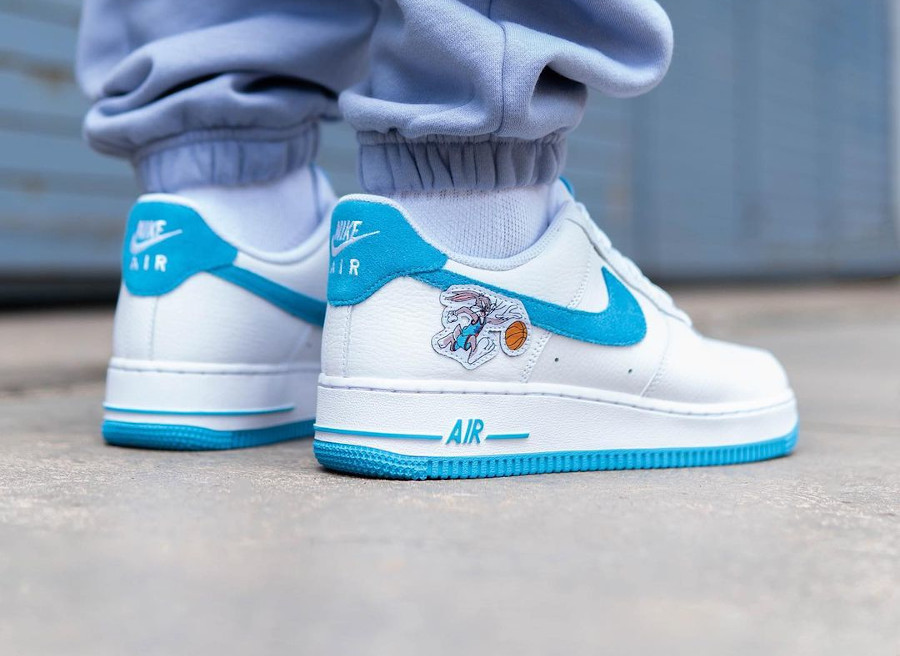 Nike Air Force 1 Space Jam Hare on feet