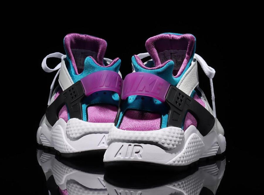 Nike Air Huarache original blanche violet et turquoise (2)