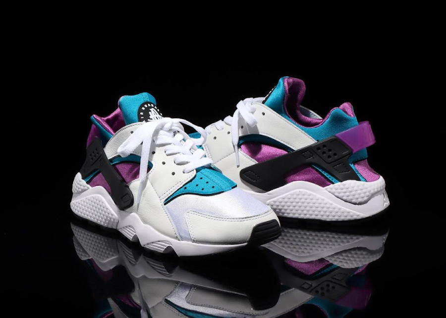 Nike Air Huarache original blanche violet et turquoise (3)