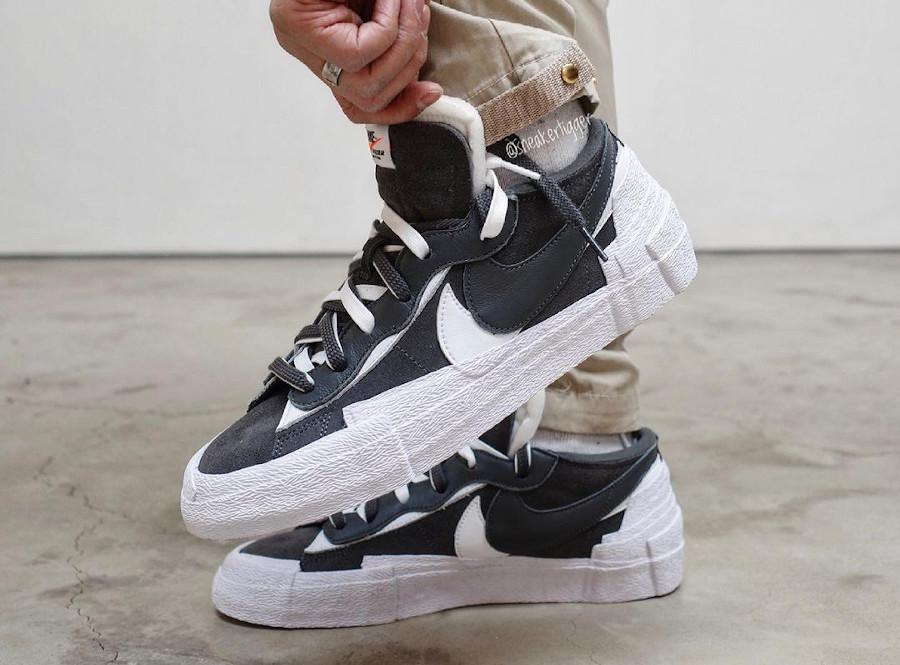 Nike Blazer Low Sacai grise et noire (2)