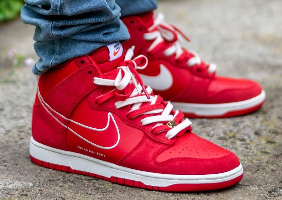 Nike Dunk High First Use Pack University Red on feet